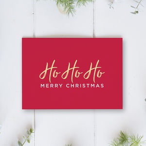 Ho Ho Ho Merry Christmas Card Single Or Pack