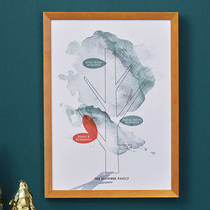 Personalised Watercolour Family Tree Print - drawings & illustrations