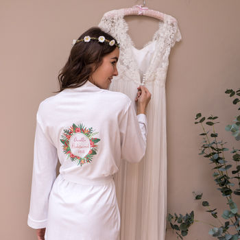Personalised Tropical Wedding Women's Dressing Gown