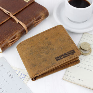 Personalised Mens Leather Wallet With Coin Pouch