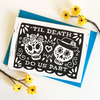 Day Of The Dead Linocut Wedding Card