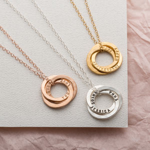 Personalised Satin Hammered Trio Ring Necklace - necklaces & pendants