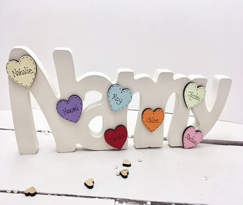 Nannny Freestanding With Personalised Mini Hearts