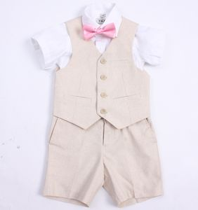 Page Boy Beige Linen Blend Christening Wedding Suit - clothing