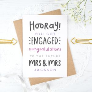 Personalised Mrs And Mrs Engagement Card - engagement cards