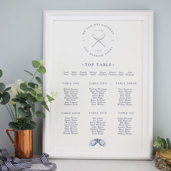 Nautical Coastal Table Plan For Weddings