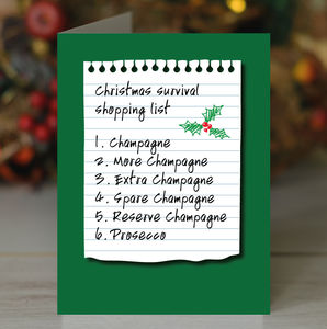 'Champagne Prosecco Christmas Survival' Card - cards