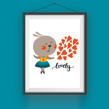Cartoon Dancing Rabbit 'Lovely' Print