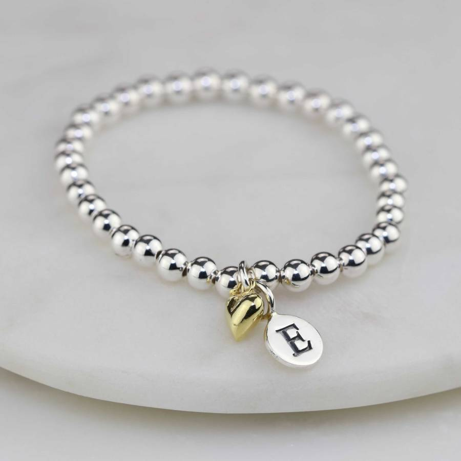 Personalised Children S Bracelet With Gold Heart Charm
