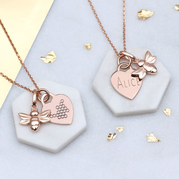 Personalised 18ct Rose Gold Vermeil Bee Heart Necklace