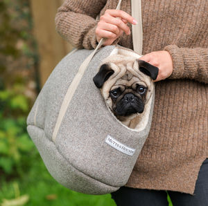 Grey Tweed Dog Carrier - dog walking accessories