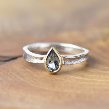 Pear Shaped Aquamarine Silver And Solid Gold Alice Ring