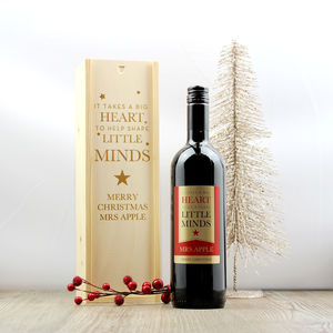 Teacher Gift Personalised Wine And Wooden Gift Box