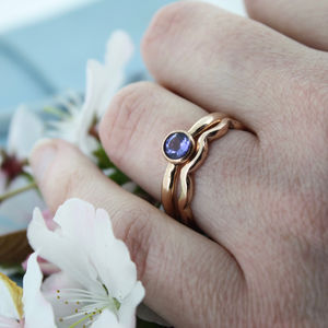 Tanzanite Engagement Ring With Shaped Wedding Ring