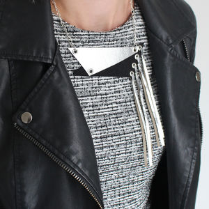 Fragment Geometric Metallic Leather Necklace - necklaces & pendants