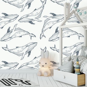 Hand Drawn Whales Self Adhesive Removable Wallpaper - wallpaper