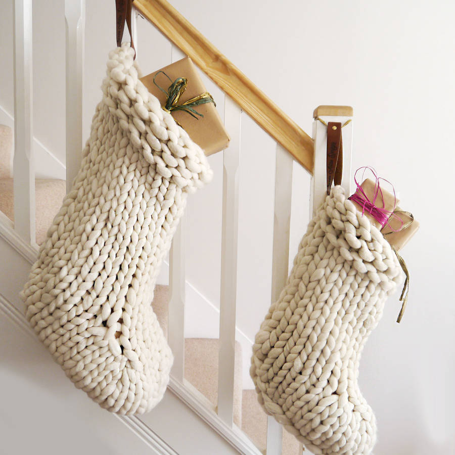Chunky hand knitted christmas stocking by lauren aston stockings sizes bankloansurffo Gallery