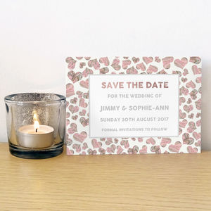 Marble Hearts Save The Dates - wedding stationery