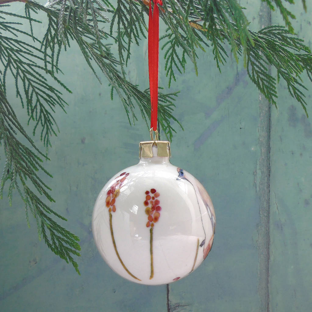 winter birds fine bone china christmas bauble by