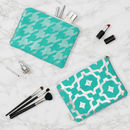 Metallic Zip Pouch In Teal And Silver