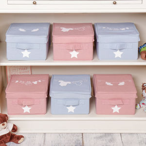 Set Of Three Baby Canvas Storage Box Selection