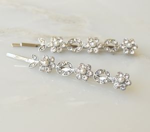 Lilian Crystal And Pearl Hair Slides - hair accessories