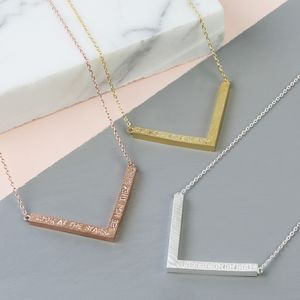 Personalised Chevron Pendant Necklace - contemporary jewellery