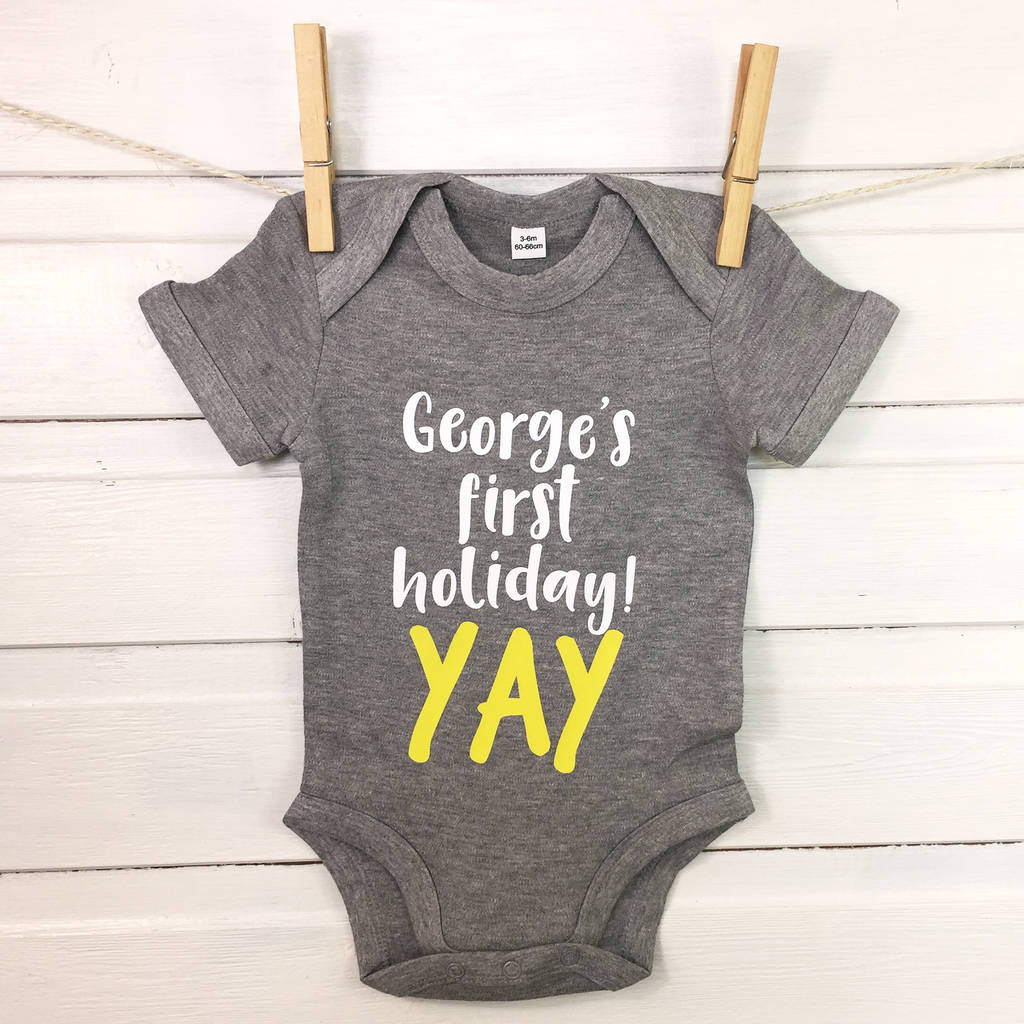 c2a4dab16 baby's first holiday personalised babygrow by lovetree design ...