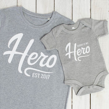 Hero Father And Son T Shirt And Babygrow Set