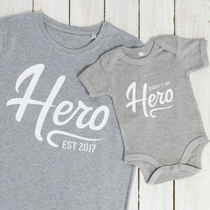 Hero Father And Son T Shirt And Babygrow Set - new in fashion