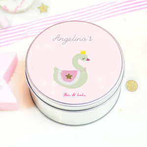 Personalised Little Girls Tin 'Swan' - keepsake boxes