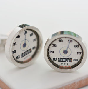 Personalised Cream Car Speedometer Cufflinks - men's accessories