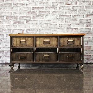 Industrial Wooden Top Steel Storage Unit - storage & organisers