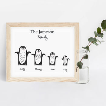 Personalised Penguins Family Print