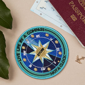 Embroidered Adhesive Compass Patch - weekend break travel accessories