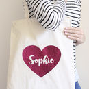Personalised Glitter Heart Tote Bag