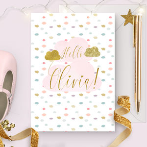 Personalised New Baby Girl Card 'Watercolour cloud'