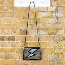 Voltage Leather Lightning Bolt Clutch And Crossbody Bag