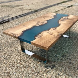 Resin River Coffee Table With Chrome Legs