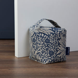 Fabric Door Stop In William Morris Marigold Indigo