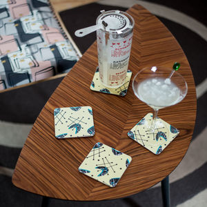 Boxed Set Of Midcentury 'Atomic Blonde' Coasters