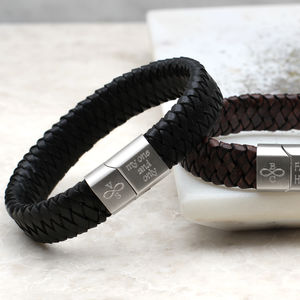 Mens Personalised Infinity And Initial Leather Bracelet - personalised jewellery