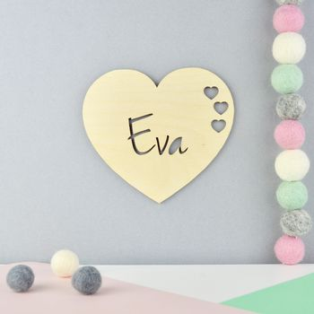 Personalised Nursery Door Sign Or Name Plaque Heart