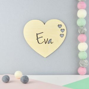 Personalised Nursery Door Sign Or Name Plaque Heart - new in baby & child