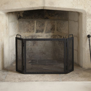Wrought Iron Folding Fire Screen - fireplace accessories