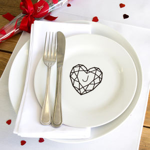 Jewelled Heart Personalised Initial Side Plate