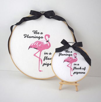 Be A Flamingo Embroidered Wall Art