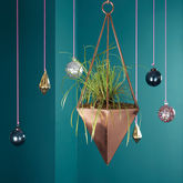 Copper Geometric Hanging Planter - garden
