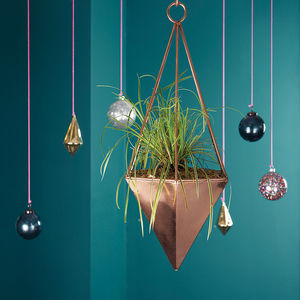 Copper Geometric Hanging Planter - gifts for friends
