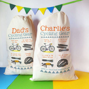 Personalised Cycling Story Sack - laundry room
